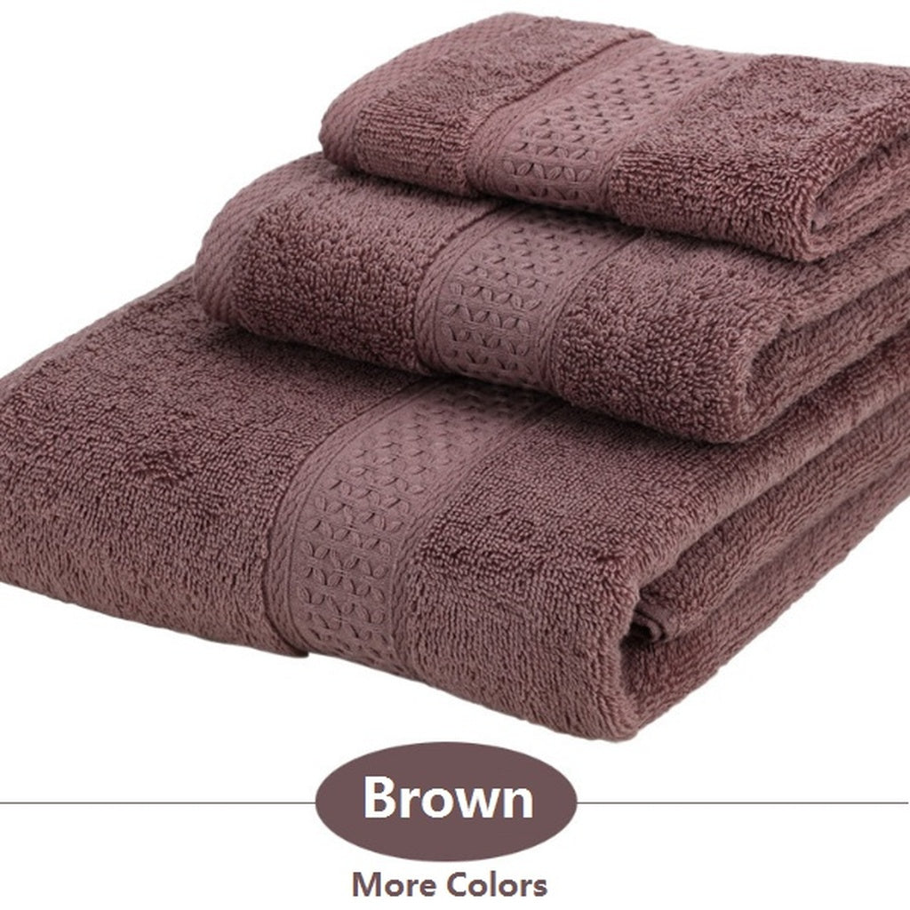 3pcs Towel Sets Cotton Fiber Face Cloth Bath Towels Serviettes Badetücher More Colors
