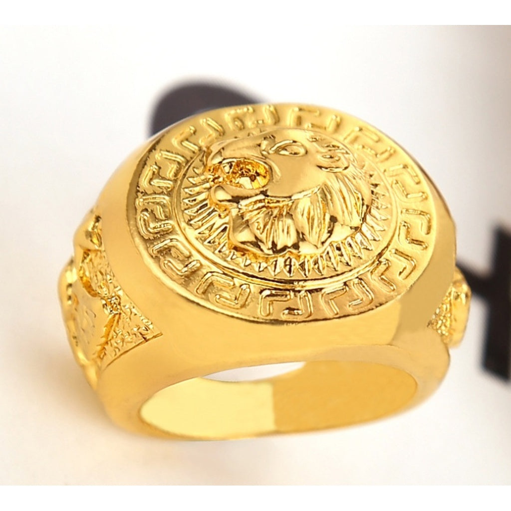 Gold and Silver Colors Classic Men's Punk Style  Cool Lion Head Ring