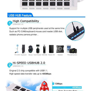 7 Ports USB 2.0 Hub High Speed ON OFF