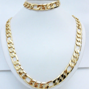 24K Yellow Gold Filled Necklace+Bracelet