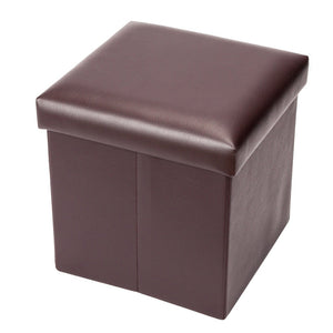 "12""x12""x12"" Folding Storage Leather Ottoman Pouffe Box Lounge Seat FootStools"
