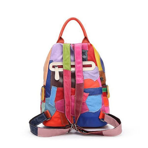 Women Genuine Leather Backpack Cute Patchwork Colorful Women ...