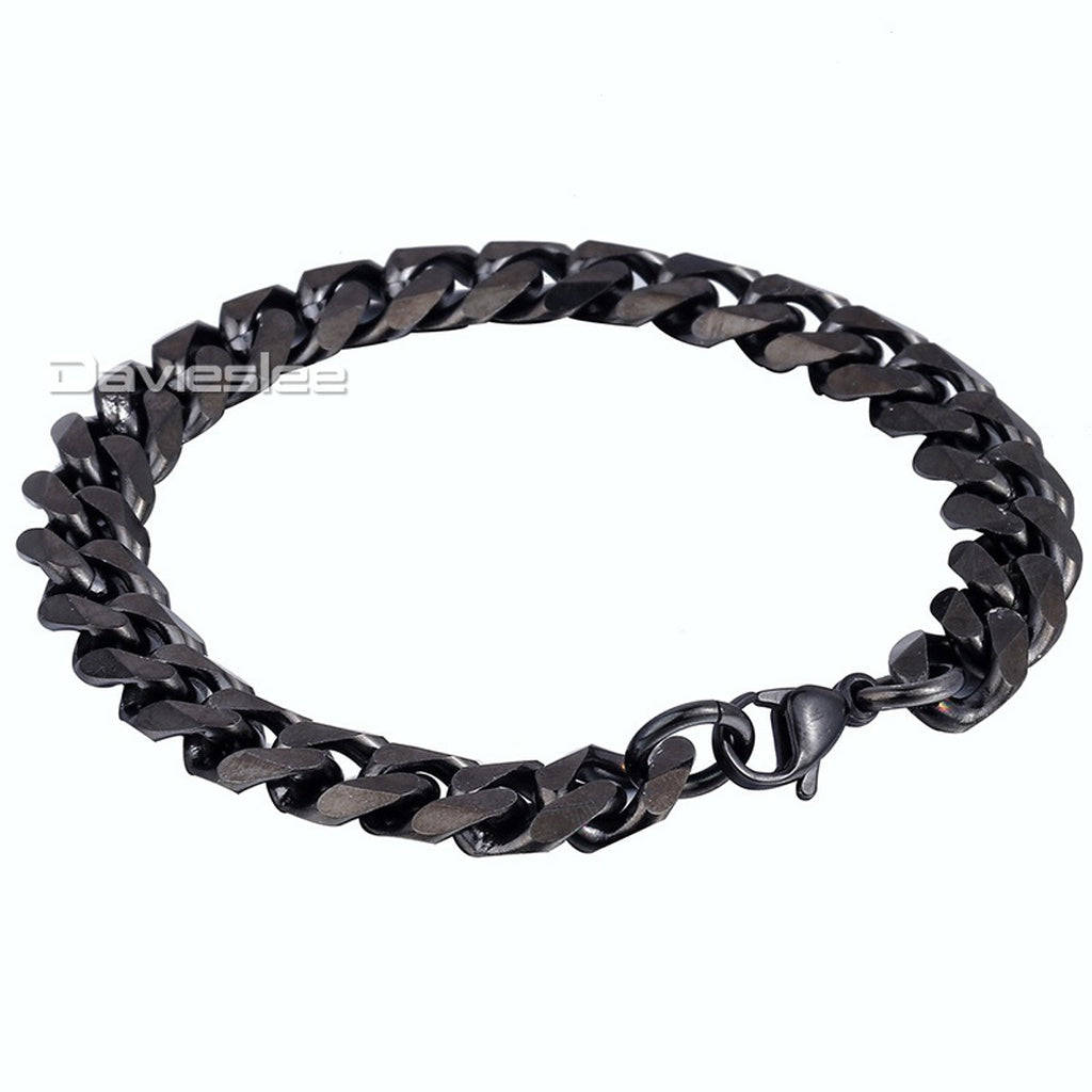 Davieslee Jewelry Simple Mens Chain Curb Cuban Stainless Steel Chain Bracelet