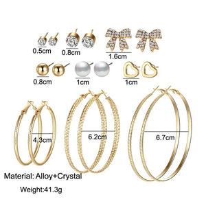 Charm Crystal Pearl, Heart Bowknot, Goldplated Hoop Earring