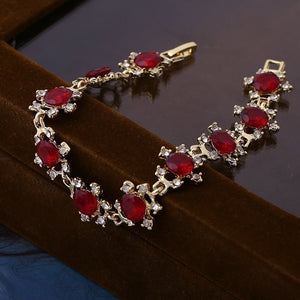 18k Gold Plated Women Fashion Red Ruby Square Shape Bracelet Jewelry