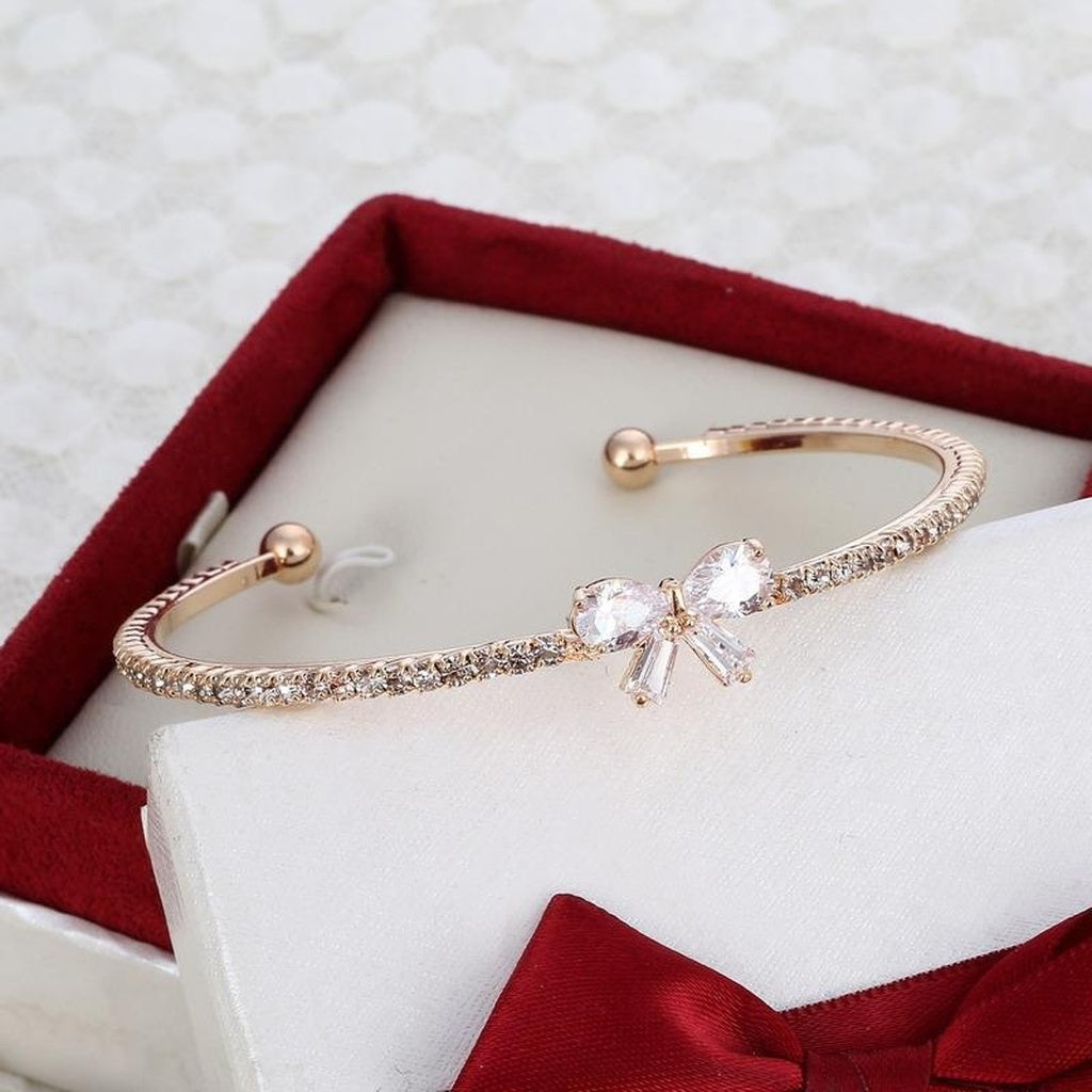 18k Gold Plated Zircon Crystal Cuff Bangles Butterfly Charms