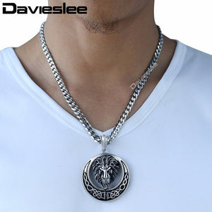Davieslee Lion Head Knot Gold/Silver Stainless Steel Pendant Necklace Chain