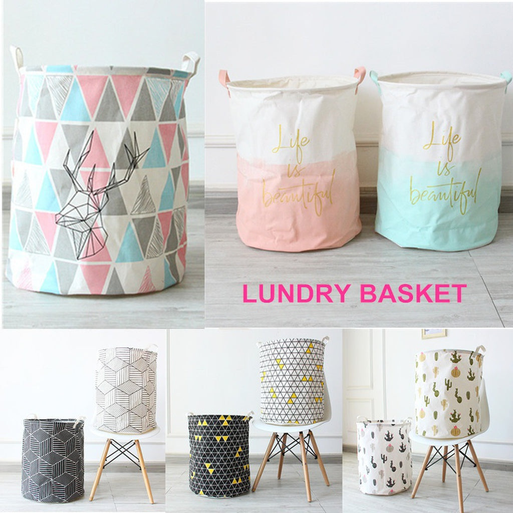 Nordic Linen Storage Basket White & Black Laundry Basket Folding Bucket for Dirty Clothing Toys Towel Home Organization