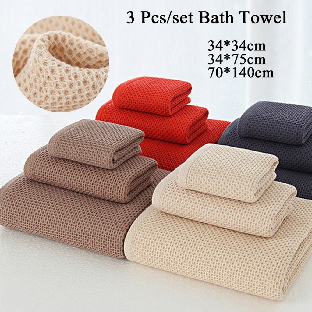 3pcs/set Bath Towel 34*34cm 34*74cm 70*140cm Soft and Durable Hand/Face Towels Bamboo Fiber Solid Color Non-twist Towels 100% Co