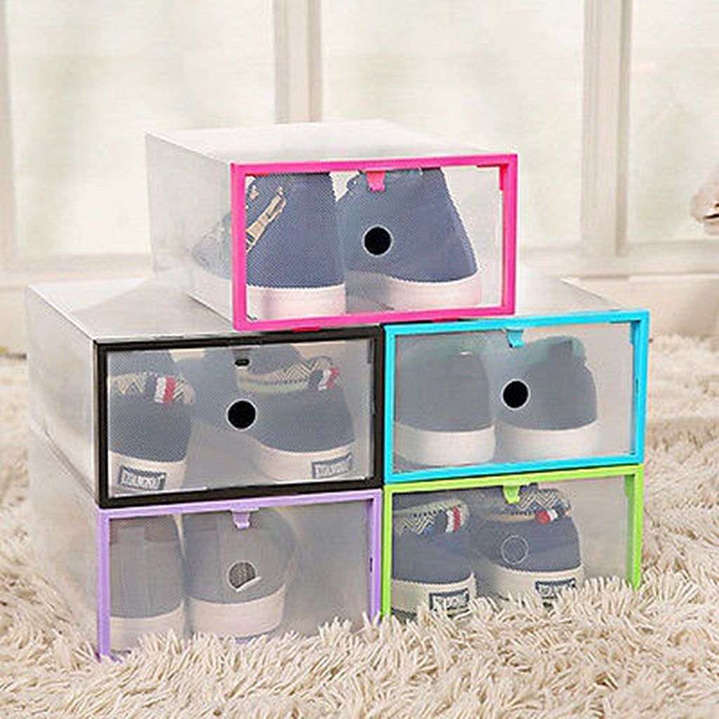 High quality 5 Colors Translucent Drawer Case Plastic Shoes Box Storage Organizer Stackable