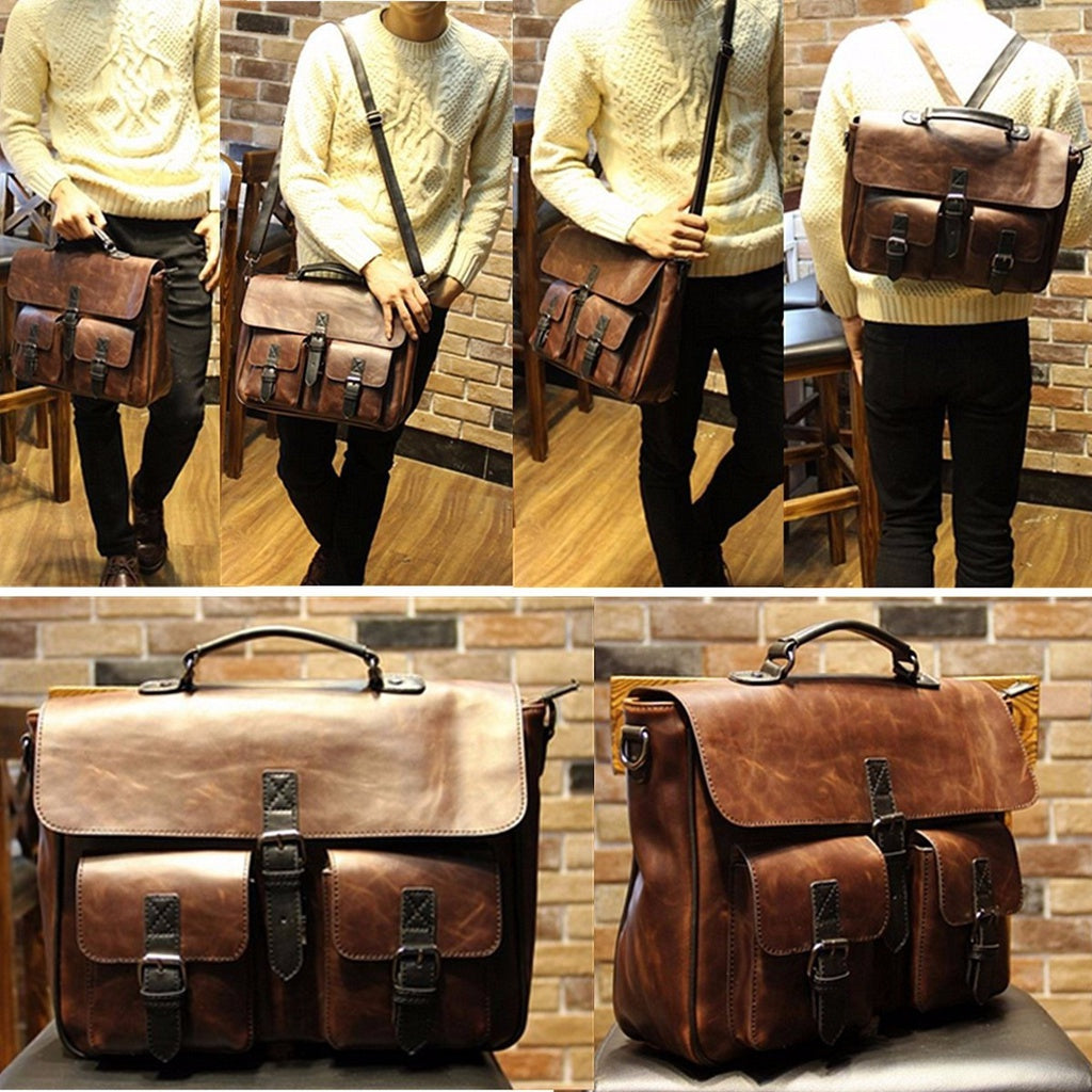 Mens PU Leather Crossbody Handbag