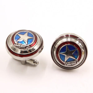 Handsome Man's French Cuff Links Captain America's Shield Sleeve Nail High Grade Shirt Cufflinks