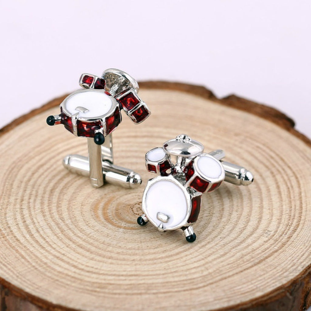 1 Pair Drum Set Luxury Shirt Cufflinks Gemelos Silver Color Design Copper Material Men Cuff Links