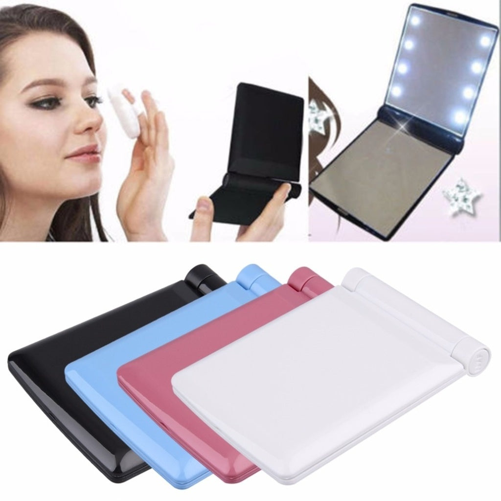 Hand Folding Compact Pocket Mirror Led Lights