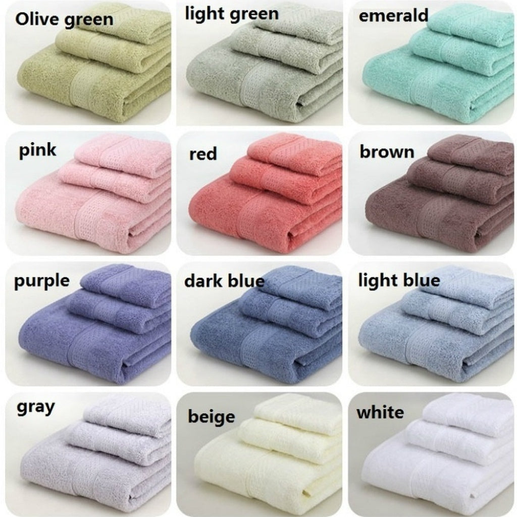17 Colors Towel Sets Cotton Fiber Face Cloth Bath Towels 3pcs