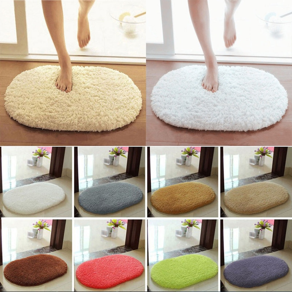Absorbent Non-slip Oval Shower Rug / Mat