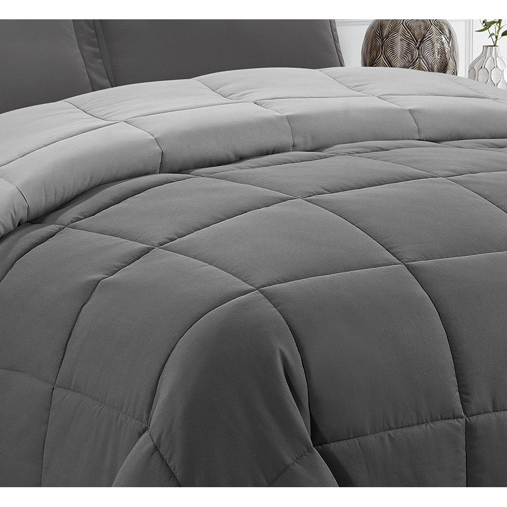 HIG 3pc Down Alternative Comforter Set -All Season Reversible Comforter with Two Shams -Quilted Duvet Insert with Corner Tabs fo