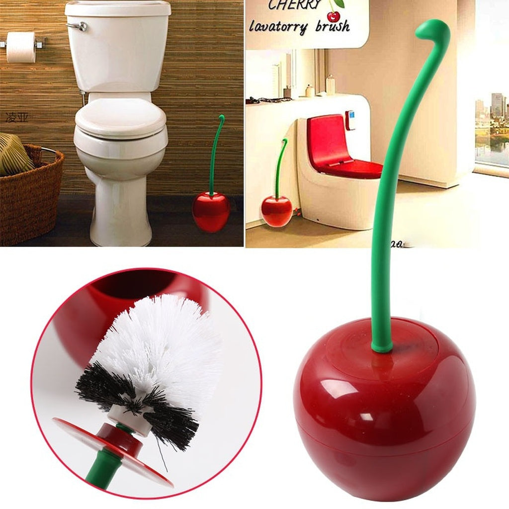 Creative Cherry Shape Lavatory Cleaning Toilet Brush With Holder Set Bathroom Supply Tool Gadget Wine Red