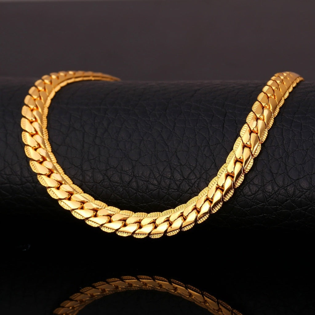 INFASHION Punk 18K Stamp  Snake Chain Necklace & Bracelet