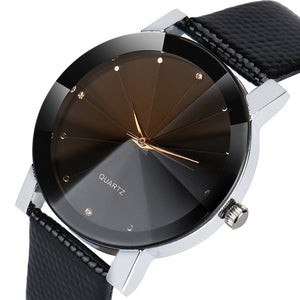 Luxury Quartz Stainless Steel Dial Leather Band Wrist Watch