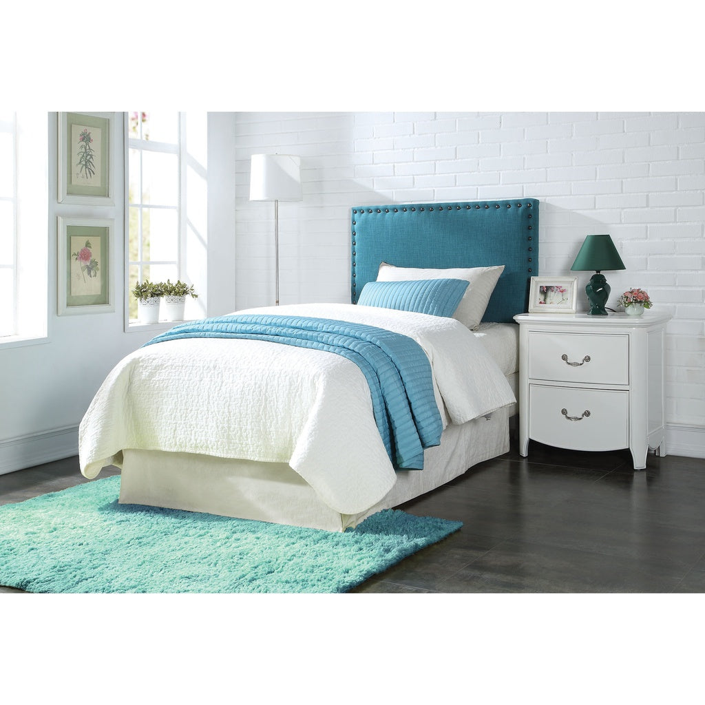 Blue Linen Twin Headboard with Nail-head Trim