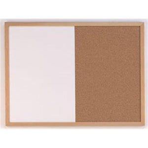Wood Finish Combination Dry Erase & Bulletin Board