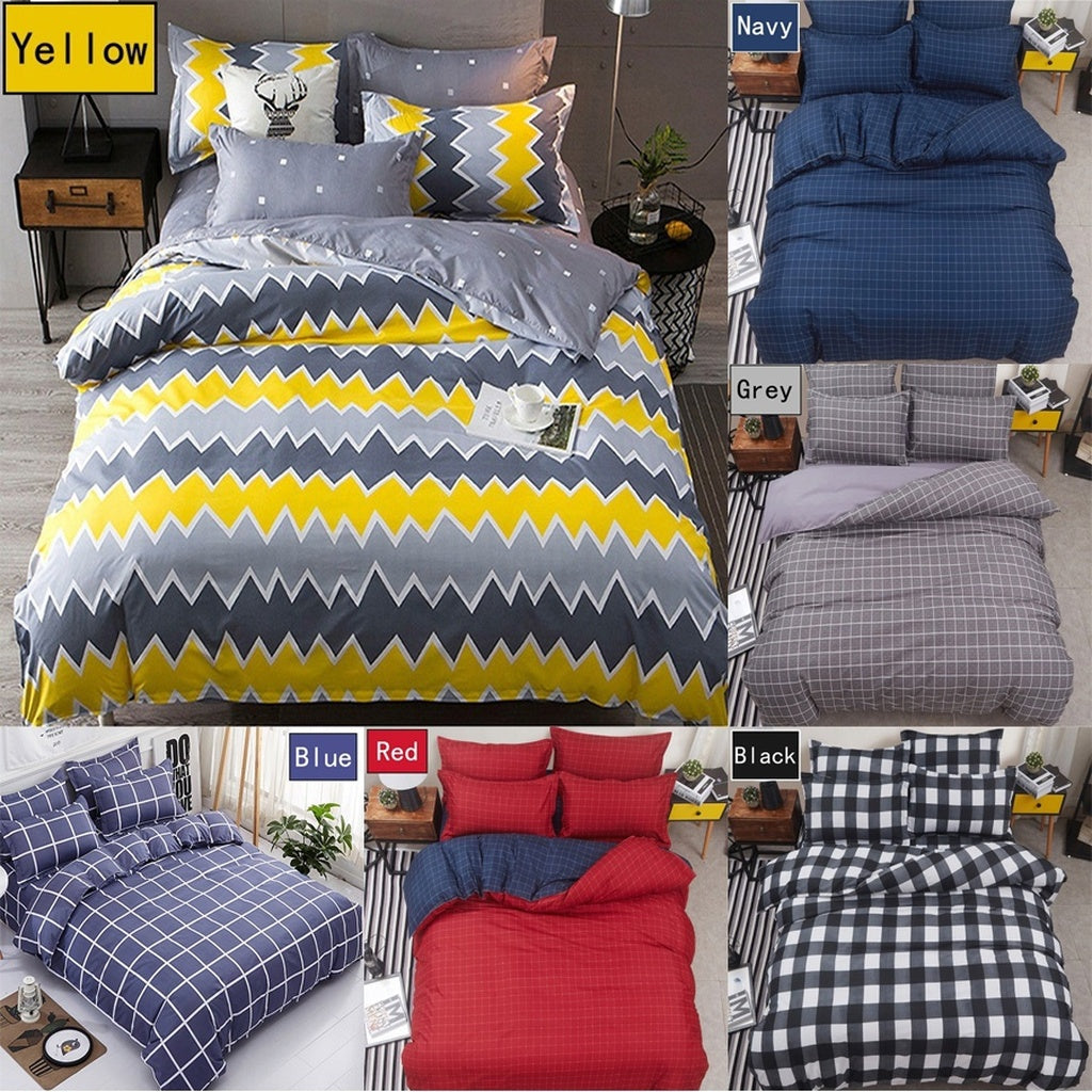 Home living king queen comforter bed set duvet cover bed flat sheets and pillow covers