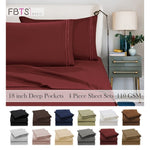 """Bed Sheet Set (4 Piece, 12 Color) - 1800 Series Egyptian Quality Double Brushed Microfiber Bedding Set 18"""" Deep Pocket Solid H"