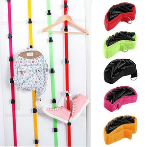 1 pcs Adjustable Over Door Hat Bag Clothes Rack Holder Organizer 8 Hooks Straps Hanger
