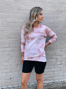 I LOVE YOU A LATTE TIE DYE PULLOVER