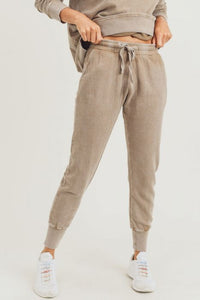 Mineral-Wash Jacquard Terry Jogger in Taupe