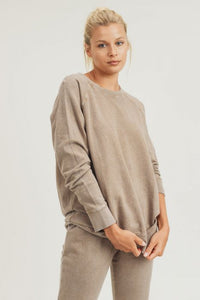 Essential Mineral-Wash Raglan Terry Pullover in Taupe