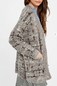 TWEED TEXTURED BUTTON DOWN CARDIGAN IN CHARCOAL