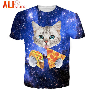 Unisex TShirts: 3D Cat & Pizza