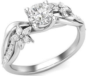 White gold twisted floral engagement ring