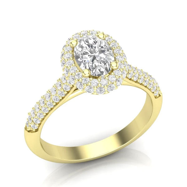 A pave-style, yellow gold unique engagement ring from Aurosi Jewels