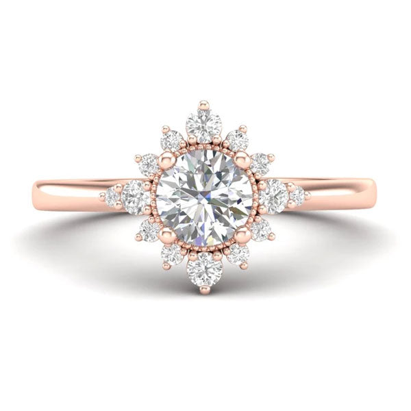 A halo-style, rose gold unique engagement ring from Aurosi Jewels