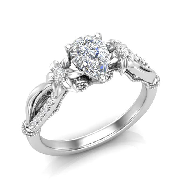 A pear-shaped diamond unique engagement ring from Aurosi Jewels
