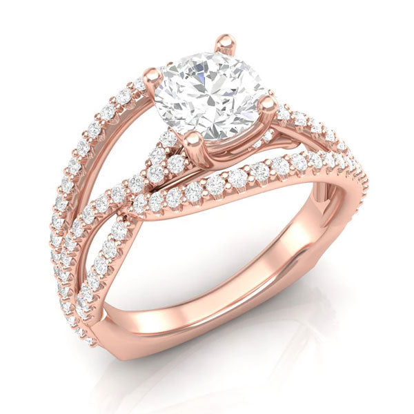 An ultra-modern, rose gold unique engagement ring from Aurosi Jewels