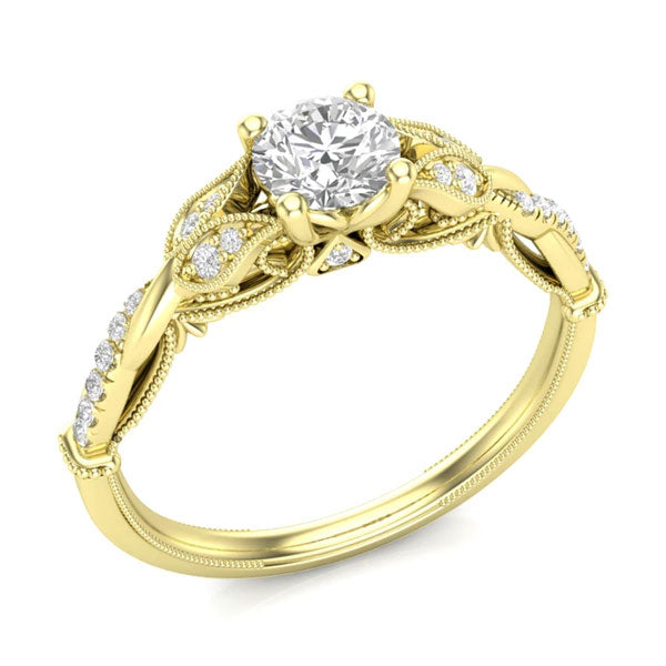 A floral-style, yellow gold solitare unique engagement ring from Aurosi Jewels