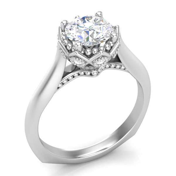 A solitaire-style, white gold unique engagement ring from Aurosi Jewels