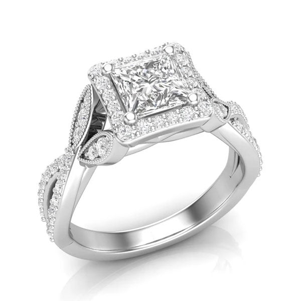 A square halo-style, white gold unique engagement ring from Aurosi Jewels