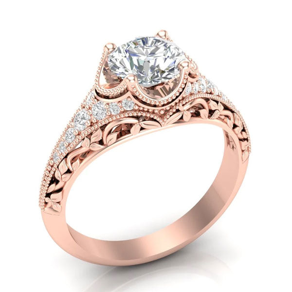 A vintage-style, rose gold unique engagement ring from Aurosi Jewels