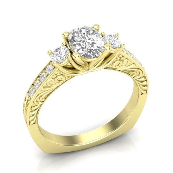 A 3-stone, yellow gold unique engagement ring from Aurosi Jewels