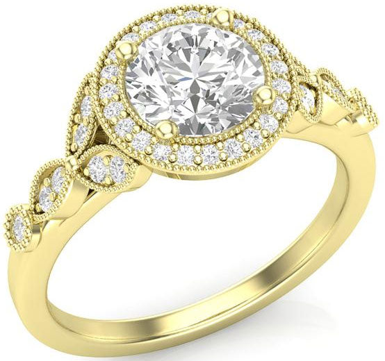 Yellow gold halo-style engagement ring with floral accents