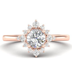 Uniquely shaped rose gold halo engagement ring