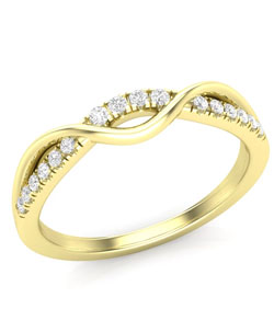 Yellow gold and diamond curved trending wedding rings