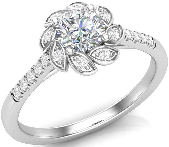 White gold, halo style engagement ring in a floral shape