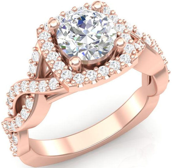 Rose gold square halo-style engagement ring
