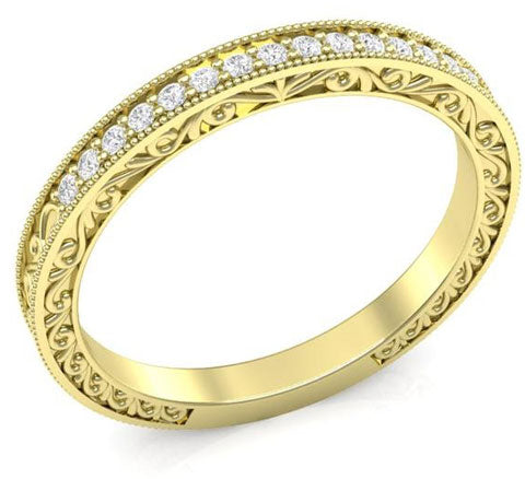yellow gold filigree wedding band